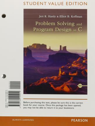 Scarica libri di testo per pdf gratuito Problem Solving and Program Design in C, Student Value Edition DJVU 9780134145914