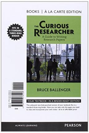 the curious researcher a guide to writing research papers The curious researcher 3/e offers a fresh approach to research by reminding readers that curiosity is still the best reason for uncovering information tips for researching and writing papers on literary topics mine the primary source action research: a guide for the teacher researcher.