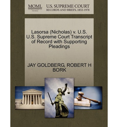 Lasorsa (Nicholas) V. U.S. U.S. Supreme Court Transcript of Record with Supporting Pleadings
