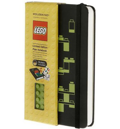 Moleskine Limited Edition Lego Green Brick Pocket Plain Notebook Black Cover